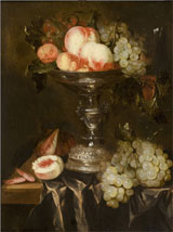 Abraham Hendricksz van Beyeren (Dutch, 1620-1690), still life with fruit, oil on panel, 24 by 19¾ inches, est. $8,000-$12,000. Quinn's Auction Galleries image.