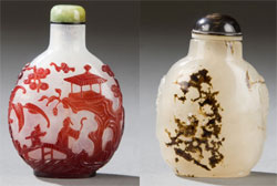 Two of 19 Chinese snuff bottles to be auctioned; these two examples being ex Estate of Edmund F. Dwyer, sold at Christie's on Oct. 12, 1987. At left: circa 1750-1820 bottle, opalescent snowstorm ground with red overlay carved with continuous river scene with figures, est. $3,000-$4,000. Quinn's Auction Galleries image.