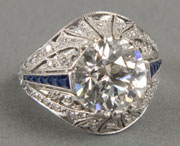 4.3-carat European-cut diamond and platinum ring, VVS2 clarity, I-J color, 1930s, est. $35,000-$45,000. Quinn's Auction Galleries image.