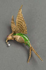 Exquisite jeweled bird pin from a selection of 14K and 18K mid-century animal-form pins. Quinn's Auction Galleries image.