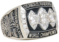 1983 Tony Caldwell Los Angeles Raiders Super Bowl XVIII Championship player's ring, $33,600. Grey Flannel Auctions image.