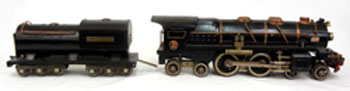 Lionel standard gauge No. 400E steam locomotive and No. 392T tender. Stephenson's image.