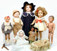 Selections from the approximately 75 lots of European and American dolls and group lots of doll clothing, dishes and reference books. Stephenson's image.