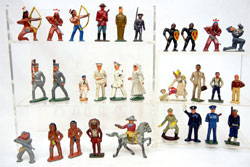 Britains figurines, both military and civilian types. Stephenson's image.