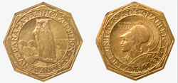 View of both sides of extremely rare 1915 Panama-Pacific $50 gold coin, est. $120,000-$150,000. Morphy Auctions image.