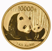 2011 Chinese Panda gold coin, 1/300, ultra cameo, weighs 1kg (2.23 lbs.), est. $120,000-$150,000. Morphy Auctions image.