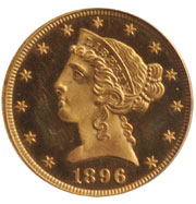 1896 Liberty $5 gold coin, est. $23,000-$30,000. Morphy Auctions image.