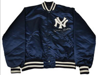 Autographed and worn Mickey Mantle golf jacket, framed, acquired through Mantle's personal attorney. Comes with LOA from PSA DNA, est. $2,000-$4,000. Morphy Auctions image.