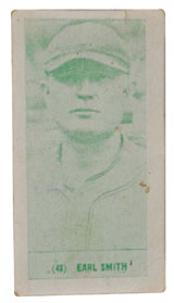 One of only two known examples of a 1928 Harrington's Ice Cream card with the image of baseball player Earl Smith, est. $10,000-$20,000. Morphy Auctions image.