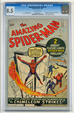 The Amazing Spider-Man No. 1, 1963, CGC-graded 8.5 with off-white pages, to be auctioned in Morphy's Feb. 9-11, 2012 auction. Estimate: $25,000-$30,000. Morphy Auctions image.