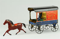 Circa-1870s Fallows American hand-painted tin wagon advertising 'Fancy Goods, Toys & Notions,' $10,350. Bertoia Auctions image