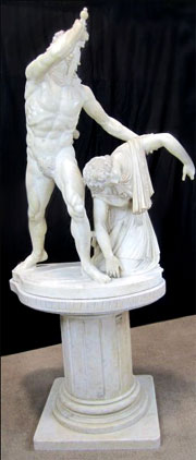 Antique marble copy of 'The Gaul Killing Himself and His Wife,' a k a 'Paetus et Aria,' 94 inches tall, 42 inches wide inclusive of custom-made marble base. Provenance: Collection of the Scottish Rite Library & Museum. Estimate $40,000-$75,000. Don Presley Auctions image.