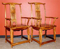 Pair of antique Chinese huanghuali chairs in mint condition, previously in a Los Angeles residence. Est. $15,000-$25,000.