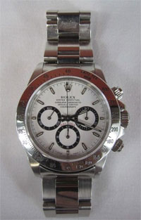 Rolex Daytona wristwatch, Model 16520 with Zenith movement, original box, est. $12,000-$20,000. Don Presley Auctions image.