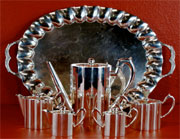 Art deco sterling silver tea set, Mexican, marked 'Jimenez,' 159.6 troy ounces. Est. $8,000-$12,000. Don Presley Auctions image.
