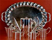 Art deco sterling silver tea set, Mexican, marked 'Jimenez,' 159.6 troy ounces. Est. $8,000-$12,000. Don Presley Auctions image.