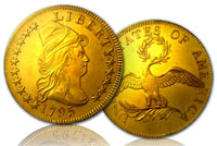 1795 13-leaves $10 gold eagle coin, graded NGC AU by Numismatic Guaranty Corp., est. $123,000-$246,000. Government Auction image