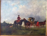 John Lewis Brown (French/Scottish ancestry, 1829-1892), signed landscape with figures, horses, dogs. Oil on board, 18 x 22in., est. $13,500-$27,000. Government Auction image.