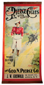 Before the Pierce-Arrow automobile, there were Pierce Cycles, as seen in this 1898 poster, 86in. tall, $11,500. Noel Barrett Auctions image.
