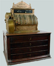 Circa-1902 National cash register Model 92, custom designed for Barton & Hoysradt department store in Columbia County, N.Y. Est. $1,000-$2,000. Nest Egg Auctions photo.