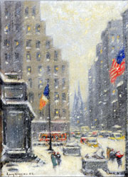 Guy Carleton Wiggins (American, 1883-1962), 'New York Library in Storm,' signed lower left, 12 x 16 in. sight, 20 x 16 in. in signed Fredrix NY frame. Est. $5,000-$10,000. Nest Egg Auctions photo.