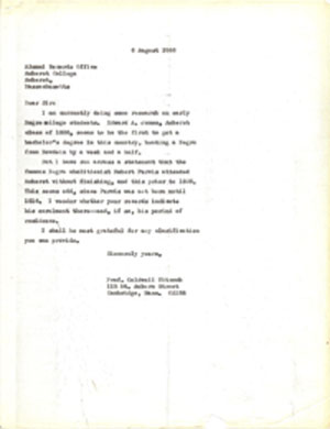 "File copy of Dr. Caldwell Titcomb's 1966 letter to Amherst College inquiring about the dates during which ""famous Negro abolitionist Robert Purvis"" may have been a student there. Archive of Dr. Caldwell Titcomb. Tonya A. Cameron Auctioneers image."