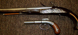 (Top) 1880s-era Turkish flintlock pistol and (bottom) Allen Thurber & Co. pocket pistol with an 1845 patent. Tonya A. Cameron Auctioneers image.