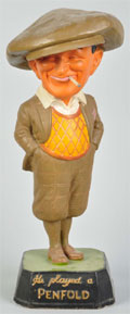 Plaster Penfold smoking golfer advertising figure, 1930s. Est. $800-$1,200. Morphy Auctions image.