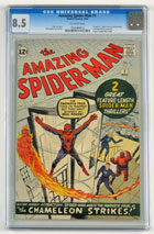 'The Amazing Spider-Man' No. 1 comic book, 1963, CGC-graded 8.5 with off-white pages. Est. $25,000-$30,000. Morphy Auctions image.