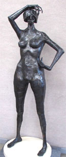 Gene Logan (Californian, 1922-1999), 'Standing Nude Woman,' welded metal sculpture, 70 inches tall inclusive of hydra-stone base. Est. 1,000-$2,000. Clark's Fine Art image.