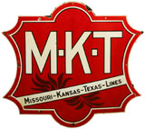 Railroad sign whose design was in use from 1890-1930 to advertise MKT (Missouri-Kansas-Texas Lines), one of a multitude of signs in Roy Gay collection. A&S image.