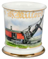 Antique occupational shaving mug with image of railway steam shovel, est. $2,000-$2,500. Morphy Auctions image.