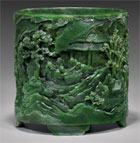 Important spinach jade brushpot, est. $40,000-$50,000. I.M. Chait image.