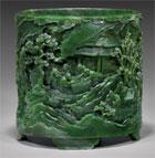 Important spinach jade brushpot, est. $40,000-$50,000. I.M. Chait image.