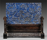 Qianlong lapis lazuli table screen, est. $35,000-$40,000. I.M. Chait image.