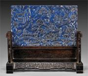 Qianlong lapis lazuli table screen, est. $35,000-$40,000. I.M. Chait image.