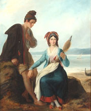 Alexandre-Marie Colin (French, 1798-1873), 'Man and Woman by the Shoreline,' oil on canvas, est. $6,000-$9,000. Clark's Fine Art image.