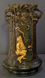 "Art Nouveau patinated gilt bronze vase with foundry mark ""E. Blot Paris Vrai Bronze,"" signed [Jules] 'Jouant,' 25½-inches tall, est. $4,000-$6,000. Sterling Associates image."