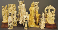 A selection of 19th- to early 20th-century Chinese, Japanese and Indian ivory figures from three different estates. Sterling Associates image.