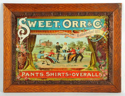 Sweet Orr & Co. Overalls advertising sign, tin, circa 1890s, est. $6,000-$9,000. Morphy Auctions image.