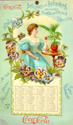 1898 Coca-Cola calendar, very rare, book example from 'Petretti's Coca-Cola Price Guide,' est. $20,000-$30,000. Morphy Auctions image.