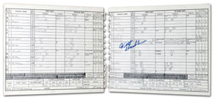 1962 Philadelphia Warriors vs. NY Knicks official scorer's score sheet with original program and press ticket from Wilt Chamberlain's 100-point game, $108,000. Grey Flannel Auctions image.