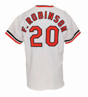1971 Frank Robinson Baltimore Orioles World Series Game 1 game-used and autographed home jersey, $45,000. Grey Flannel Auctions image.
