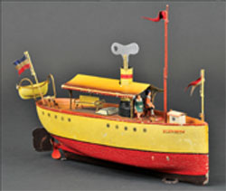 Marklin 'Blenheim' clockwork riverboat, Germany, 1909, 13 in. long, est. $8,000-$9,000. Bertoia Auctions image.
