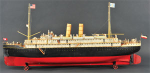 Marklin 'Kaiserin Augusta Victoria' steam-powered ocean liner, German, 46 in. long, est. $90,000-$100,000. Bertoia Auctions image.