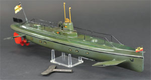 Marklin submarine, Germany, circa 1930s, 22 in. long, est. $4,000-$4,500. Bertoia Auctions image.