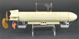 Marklin clockwork zeppelin, German, tin with celluloid rear propellers, 17 in. long, est. $7,000-$9,000. Bertoia Auctions image.