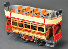 Bing clockwork double-decker trolley, Germany, lithographed tin, 9¼ in. long, est. $3,500-$4,500. Bertoia Auctions image.