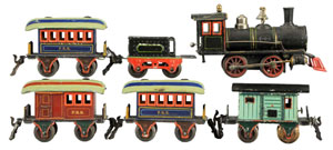 Marklin O gauge passenger train set, est. $2,000-$3,000. Morphy Auctions image.
