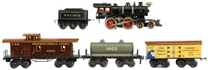 Bing O gauge freight train set, est. $600-$800. Morphy Auctions image.
